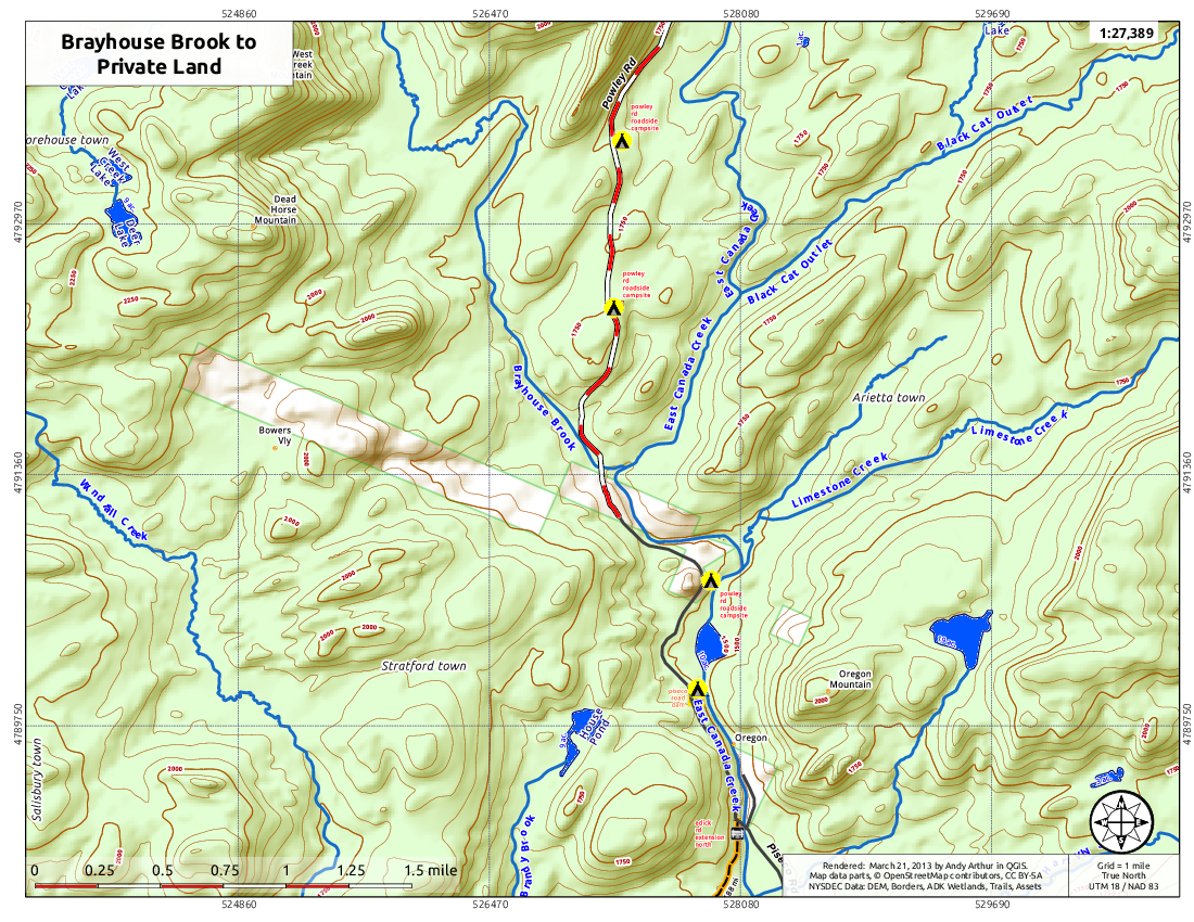 Map: Brayhouse Brook to Private Lands