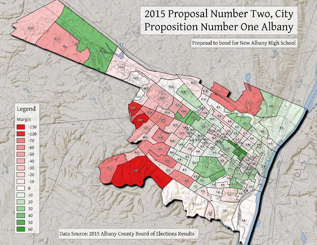 Map: 2015 Proposal Number Two, City Proposition Number One Albany