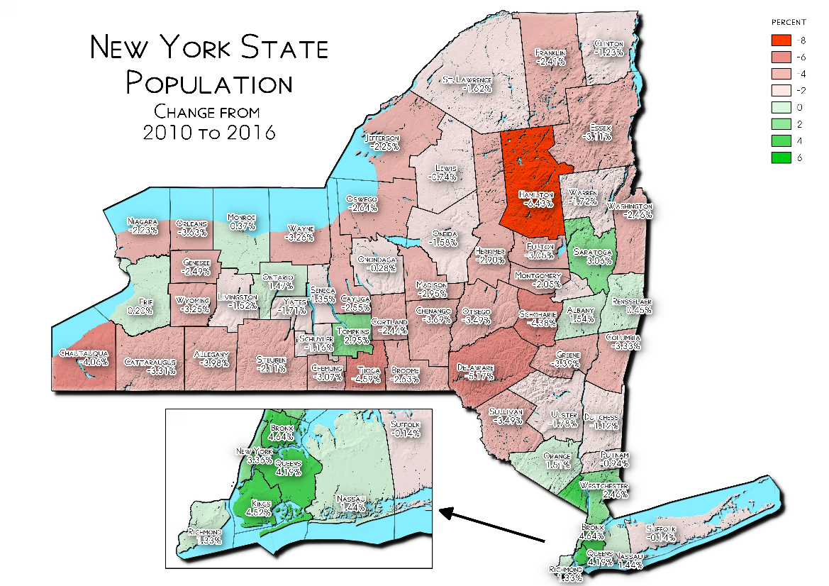 Map: NYS Population Change From 2010 To 2016