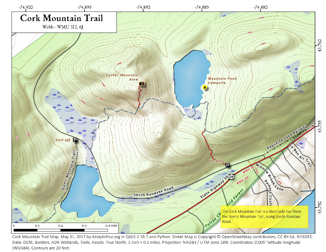 Map: Cork Mountain Trail
