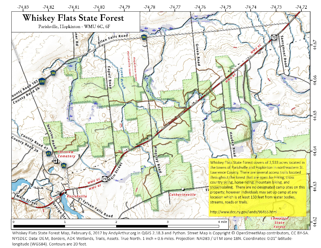 Map: Whiskey Flats State Forest