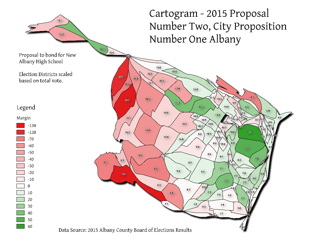Map: Cartogram – 2015 Proposal Number Two, City Proposition Number One Albany