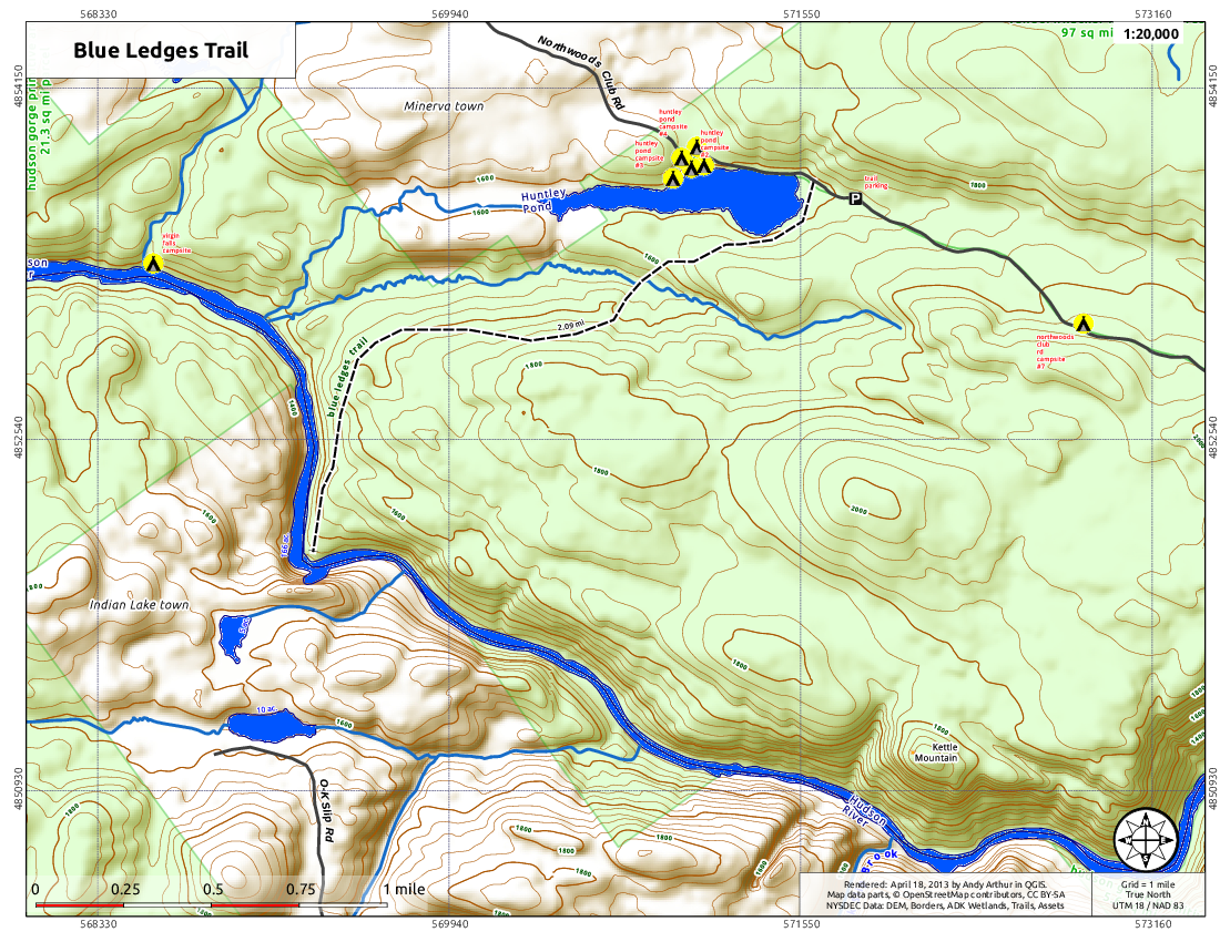 Map: Blue Ledges Trail