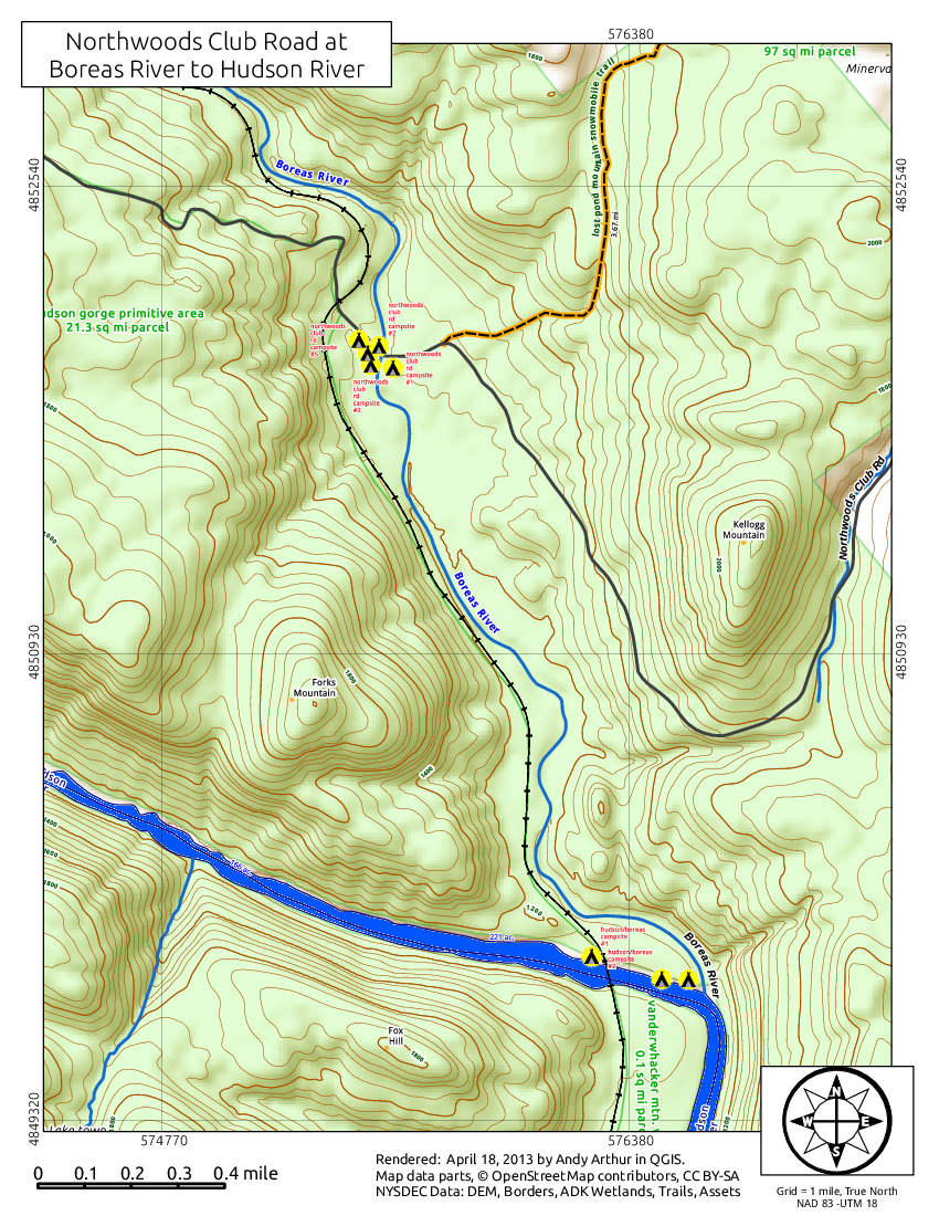 Map: Northwood Club Road At Boreas Road To Hudson River