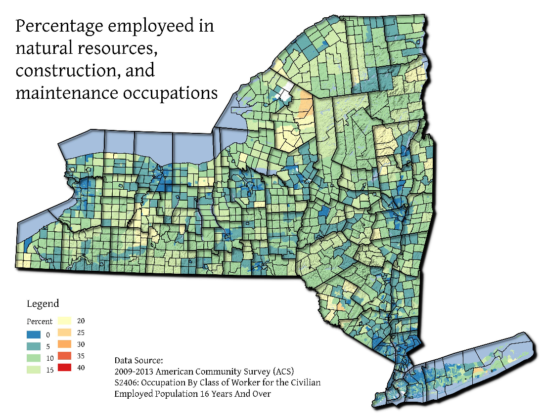 Map: Percentage Employeed In Natural Resources, Construction, And Maintenance Occupations