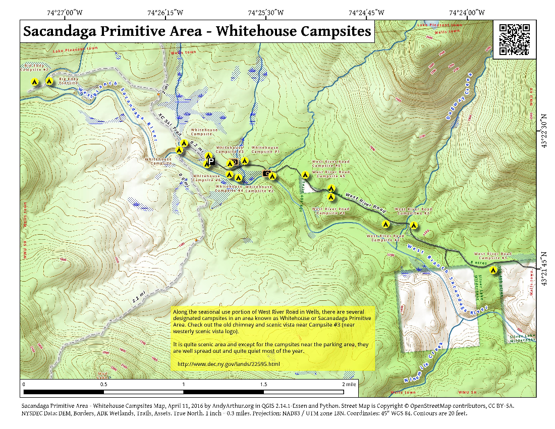 Map: Sacandaga Primitive Area – Whitehouse Campsites