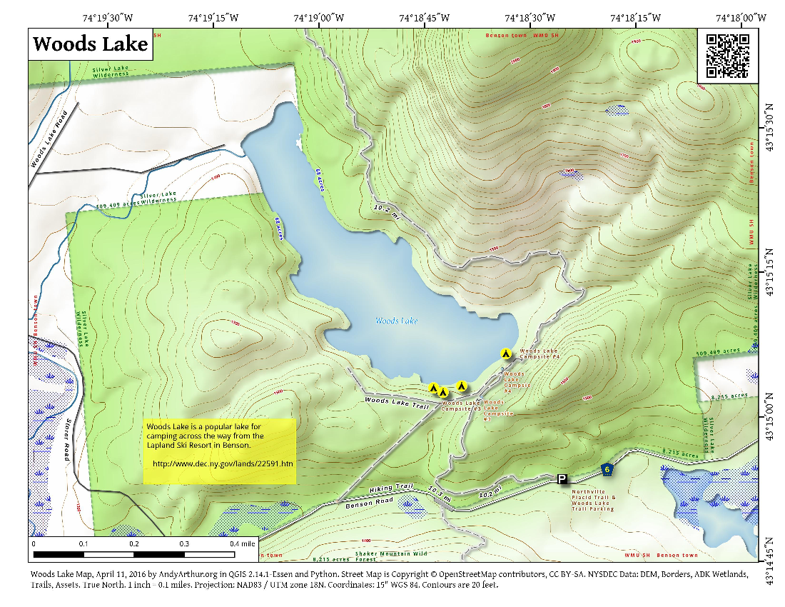 Map: Woods Lake