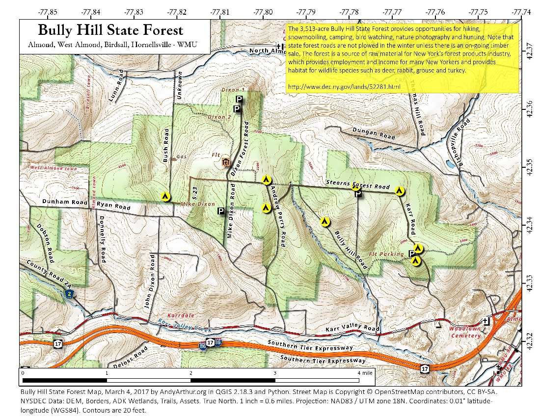 Map: Bully Hill State Forest