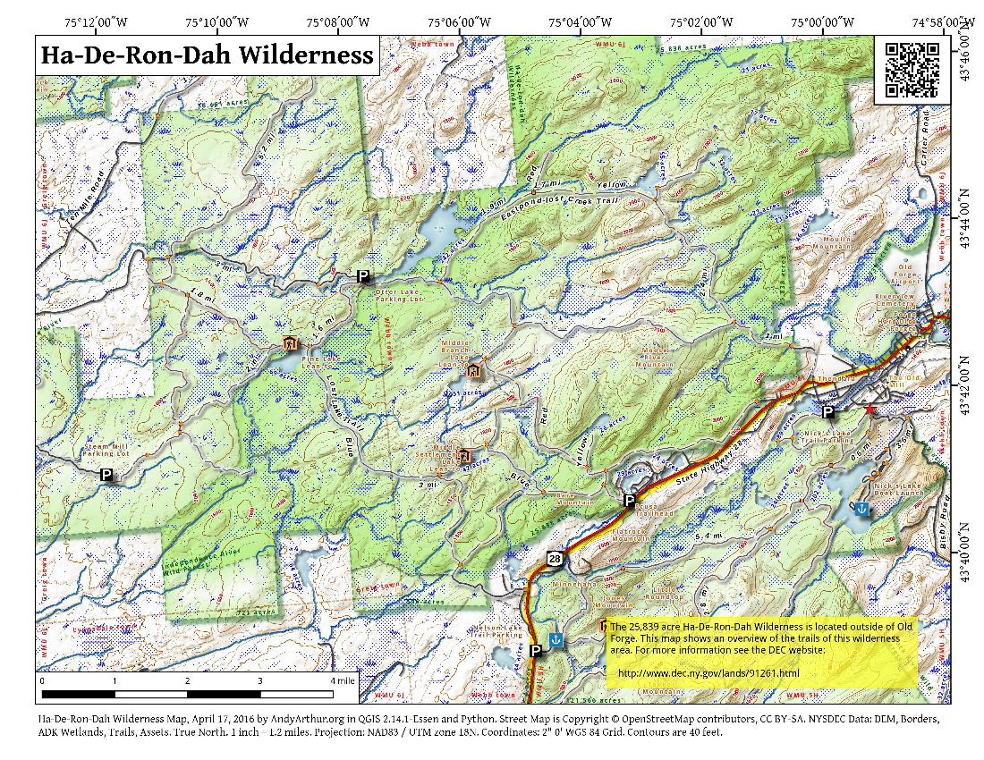 Map: Ha De Ron Dah Wilderness