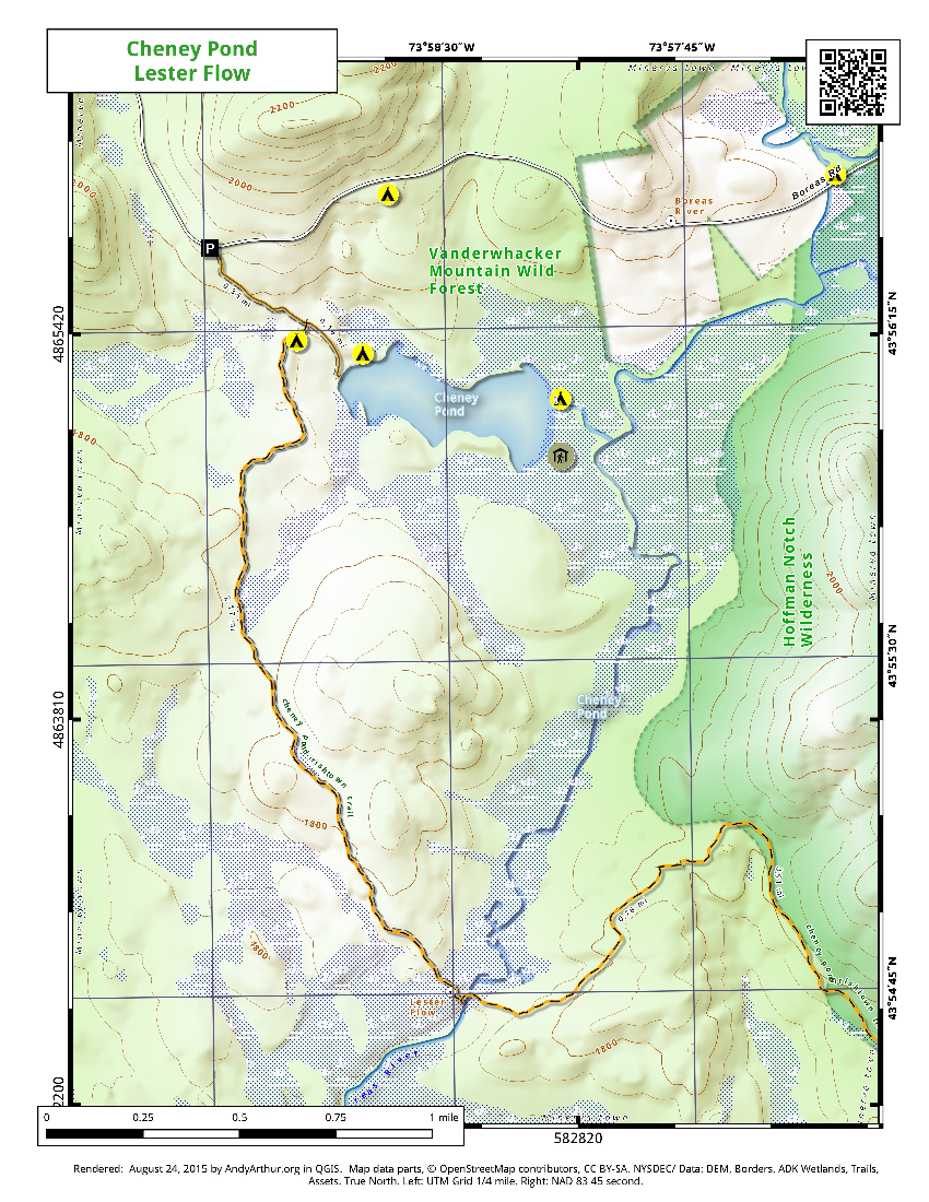 Map: Cheneny Pond And Lester Flow
