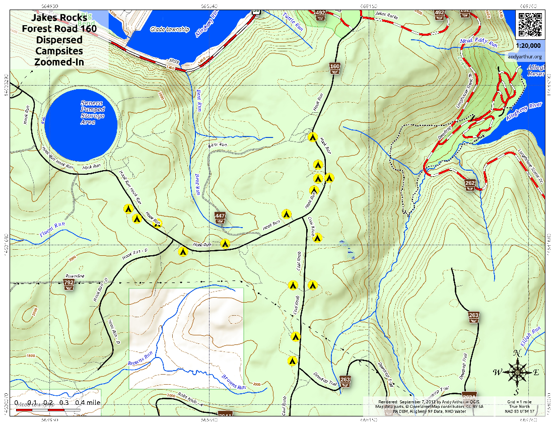 Map: Forest Road 160 Dispersed Campsites Zoomed In