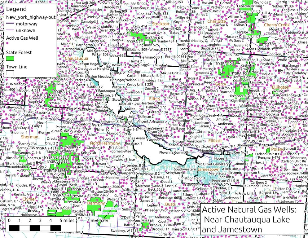 Map: Active Gas Wells Near Chautauqua Lake and Jamestown