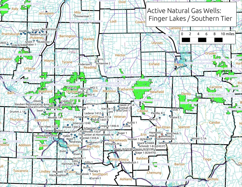 Map: Active Gas Wells Near Horseheads