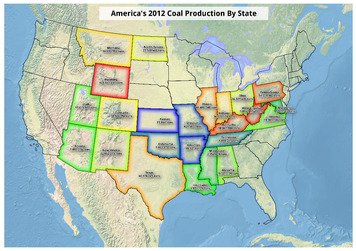 Map: Americas Coal Production 2012