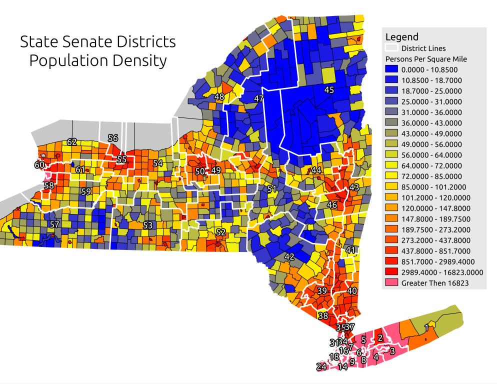 Map Population Density State Senate Districts  Andy