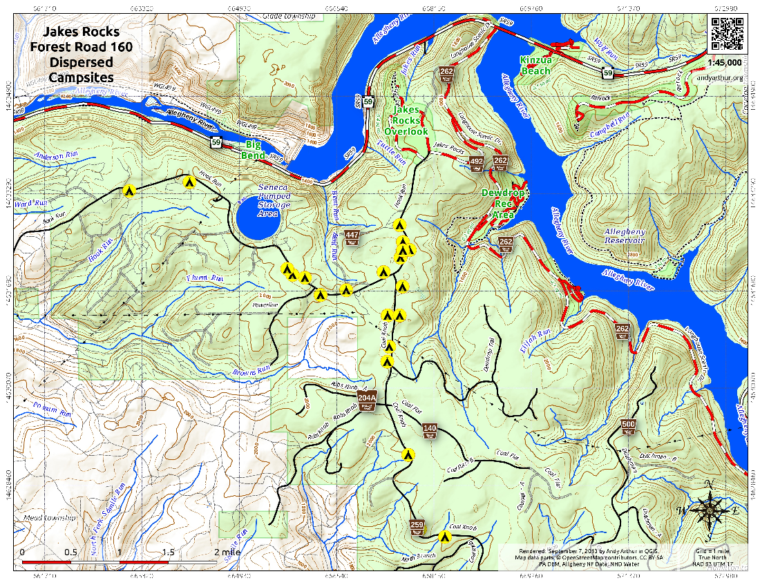 Map: Jakes Rocks Forest Road 160 Dispersed Campsites