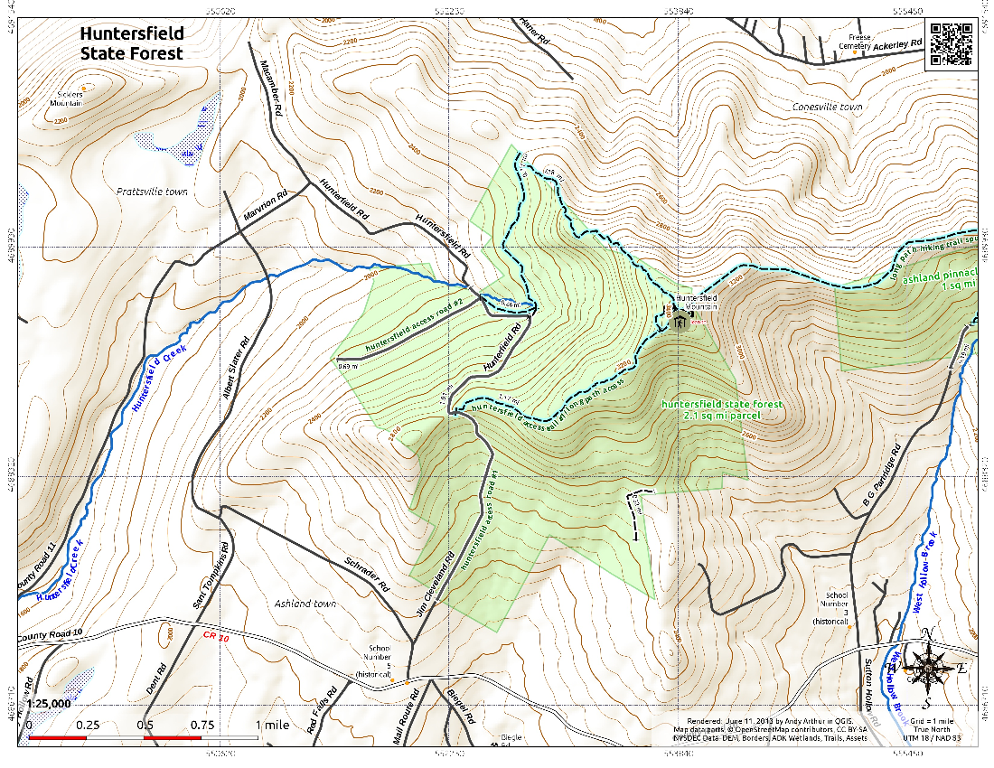Map Huntersfield State Forest