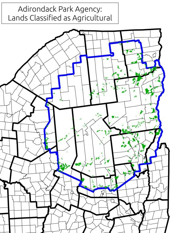 Map: Lands Classified as Agricultural By Adirondack Park Agency
