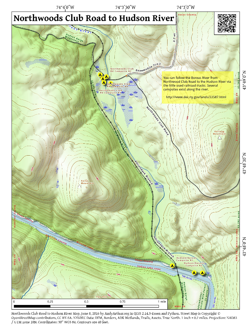 Map: Northwoods Club Road To Hudson River