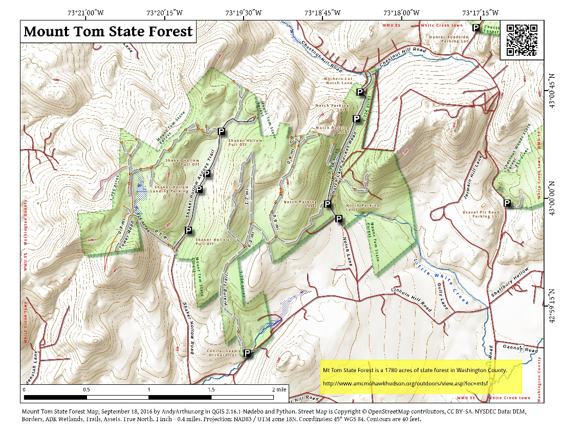 Map: Mount Tom State Forest