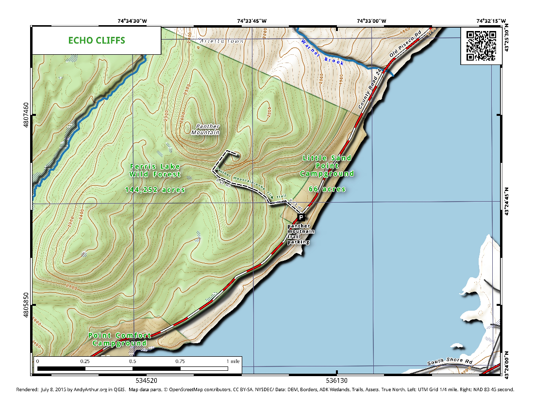 Map: Echo Cliffs Trail on Piseco Lake