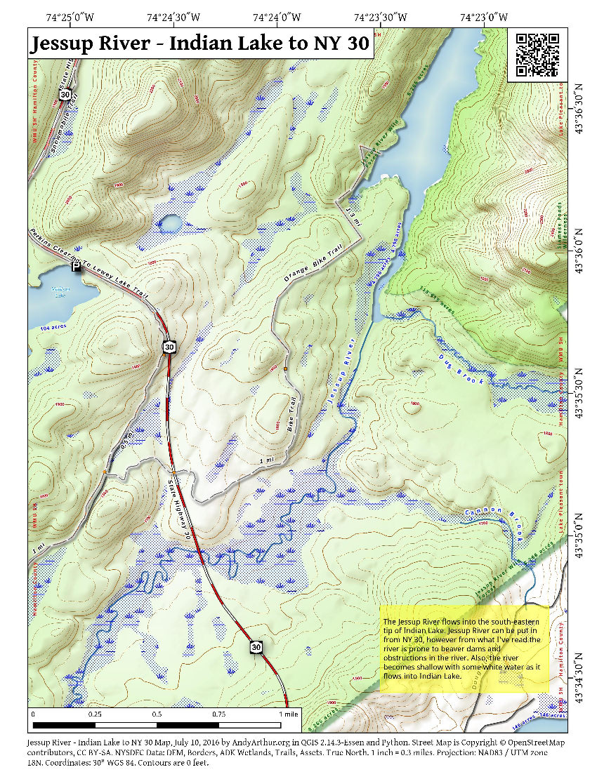 Map: Jessup River – Indian Lake to NY 30