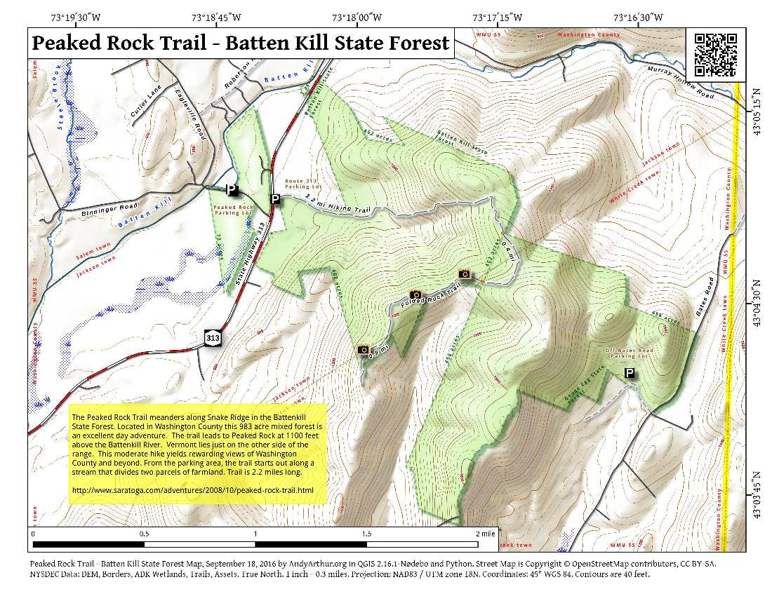 Map: Peaked Rock Trail – Batten Kill State Forest