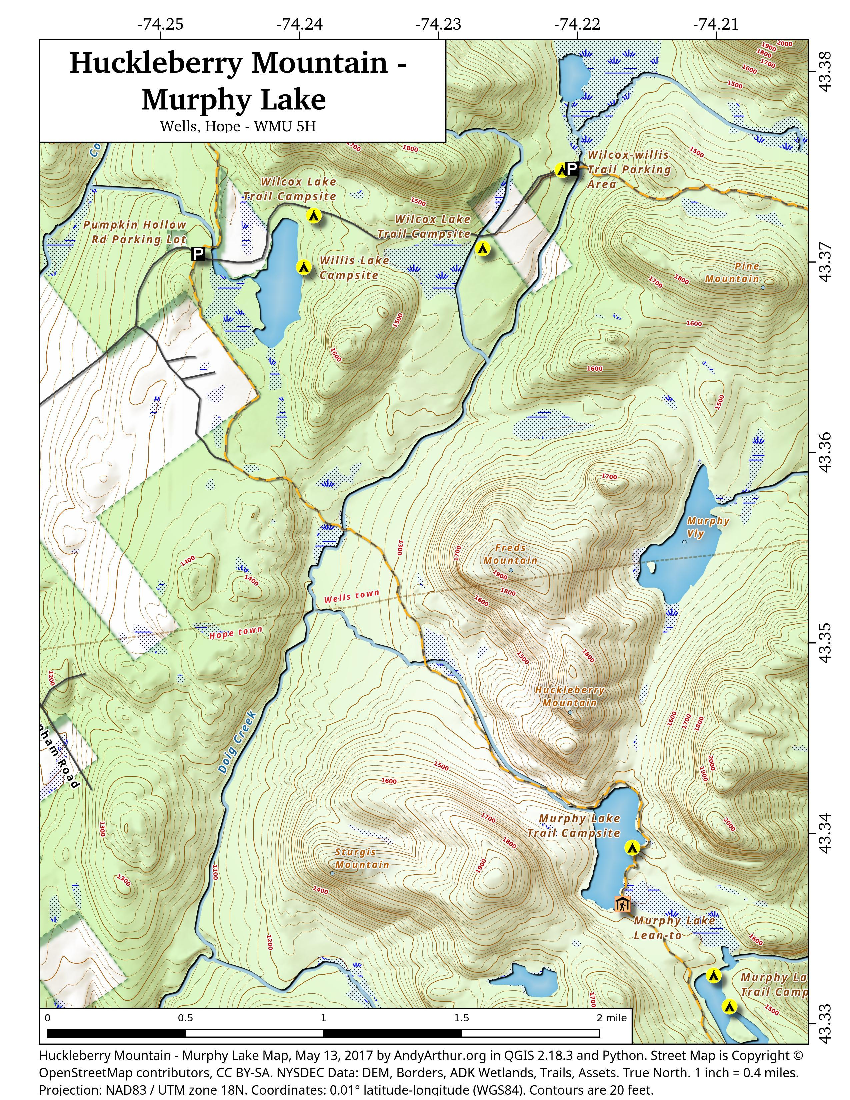 Map: Huckleberry Mountain and Murphy Lake