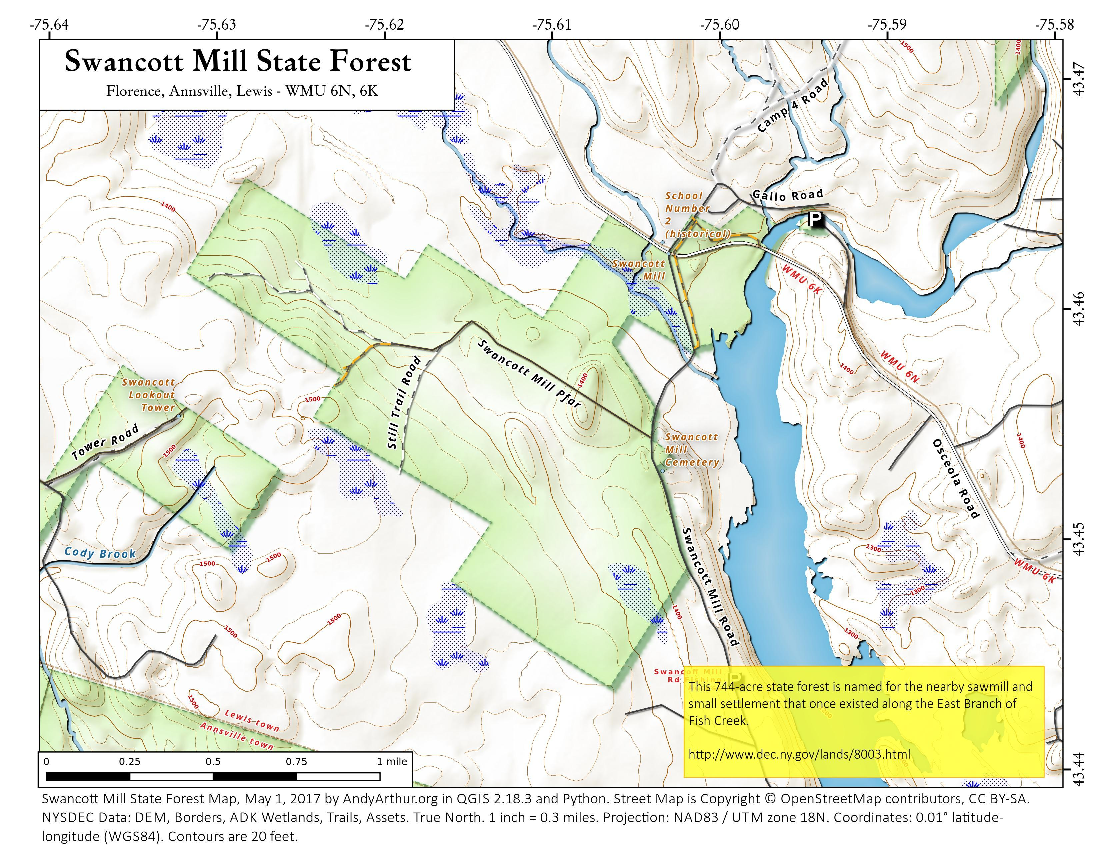 Map: Swancott Mill State Forest