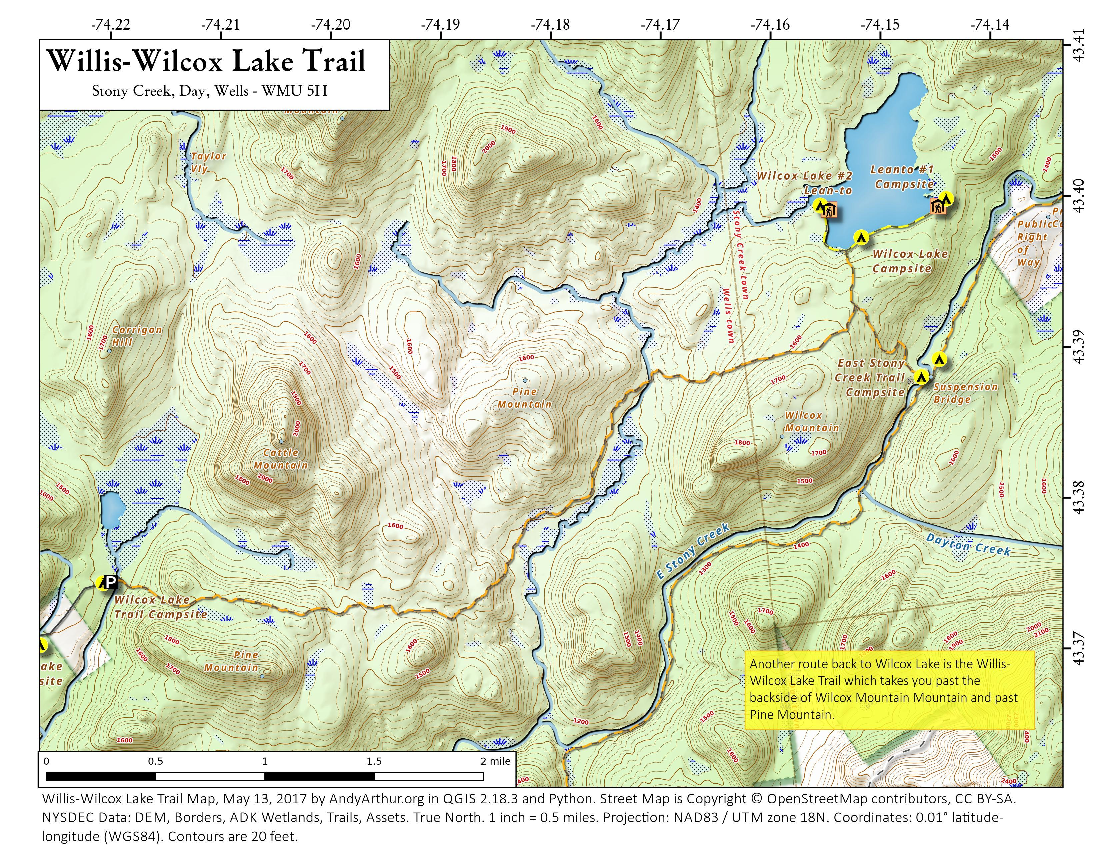 Map: Willis-Wilcox Lake Trail