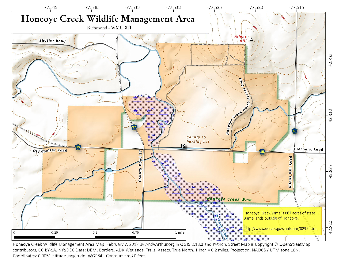 Map: Honeoye Creek Wildlife Management Area