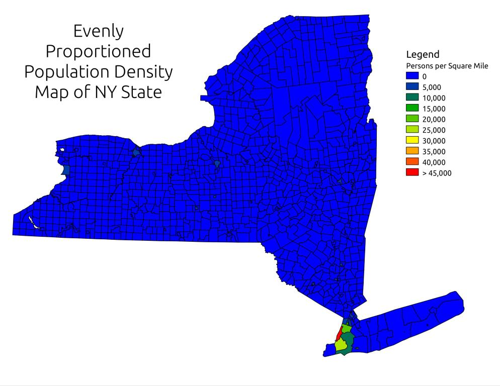 Map Evenly Proportioned Population Density In NY State