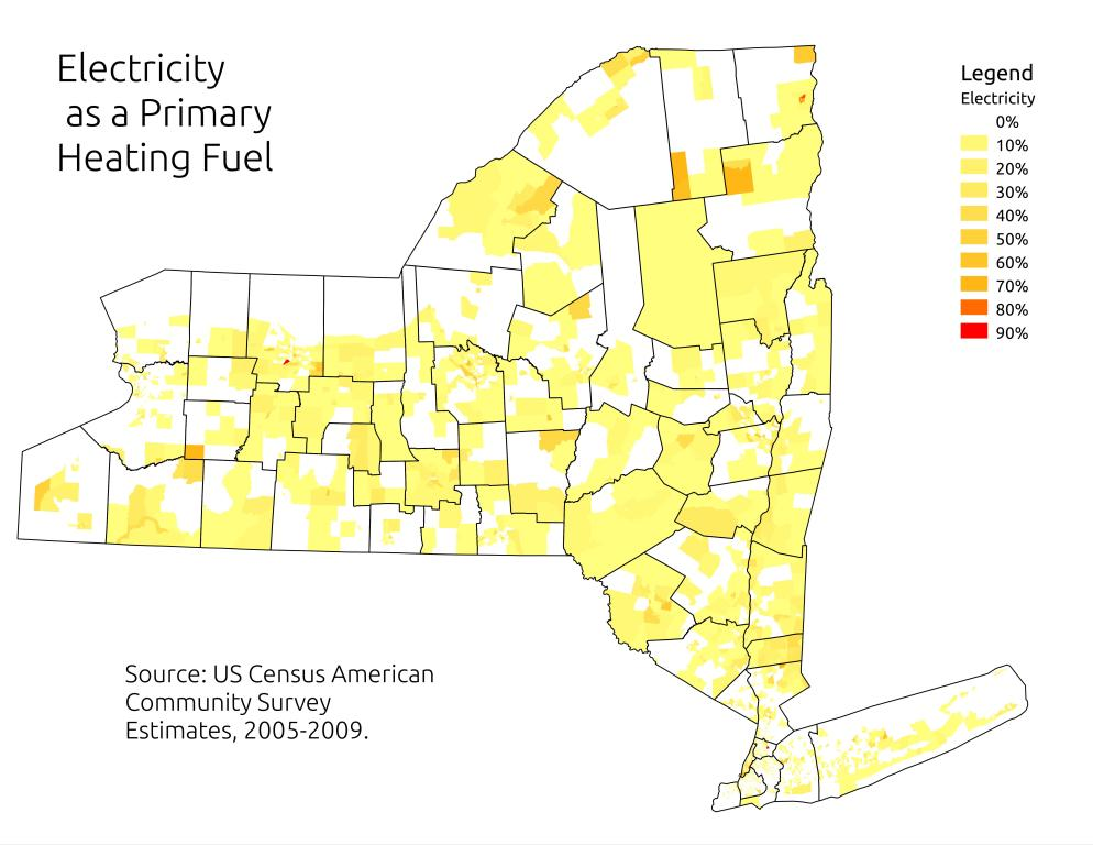 Map: Electricity as a Primary Heating Fuel