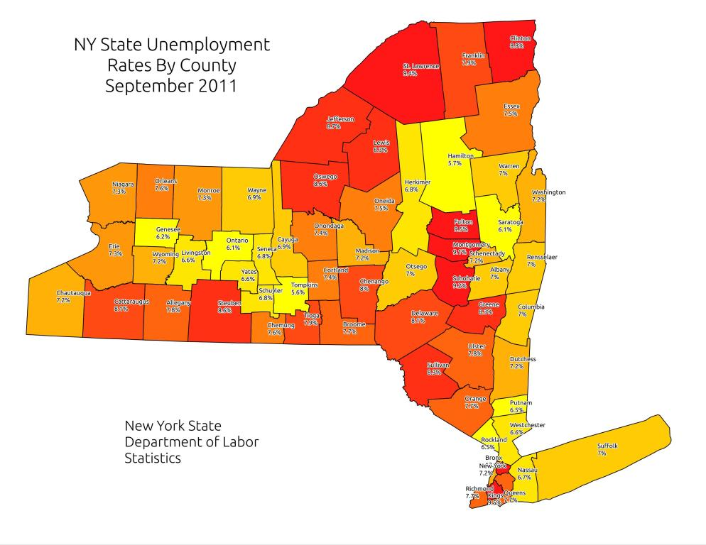 NY State September 2011 Unemployment Maps