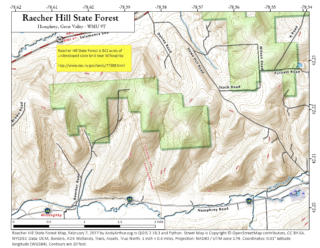 Map: Raecher Hill State Forest