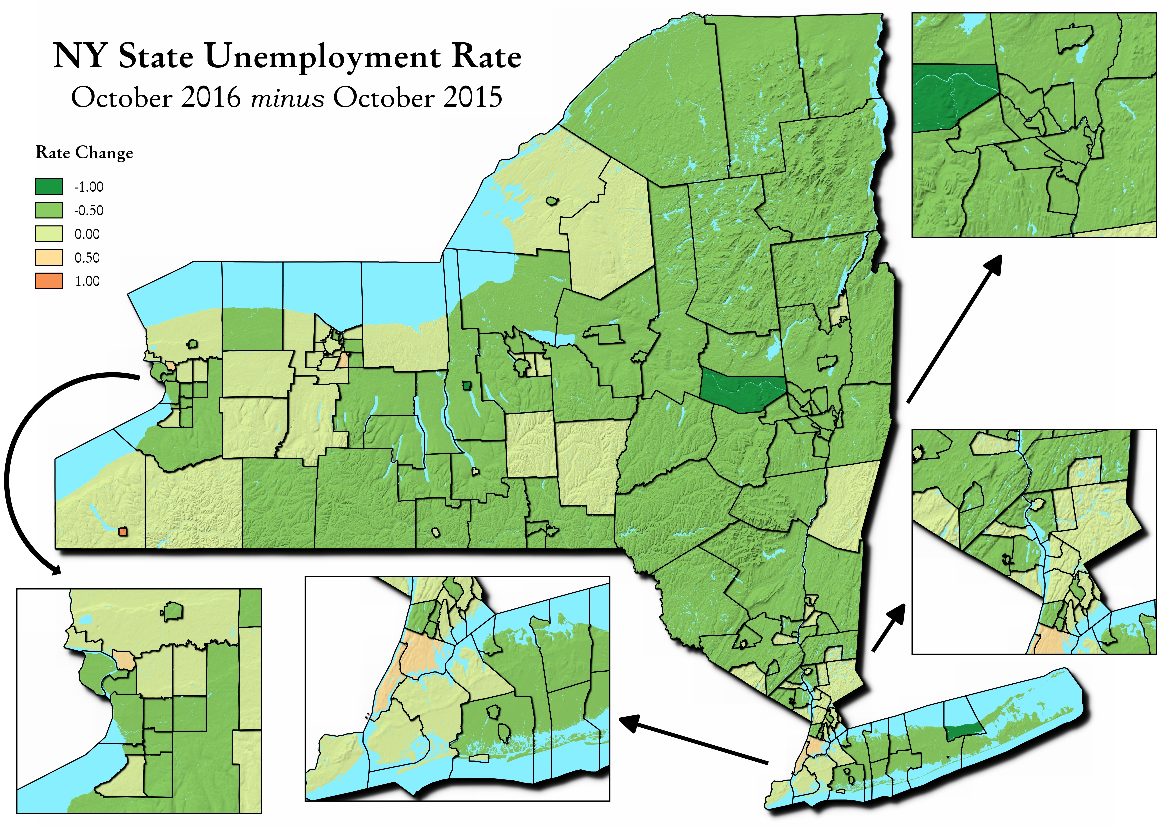 Map: NY State Unemployment Rate October 2016 Minus October 2015