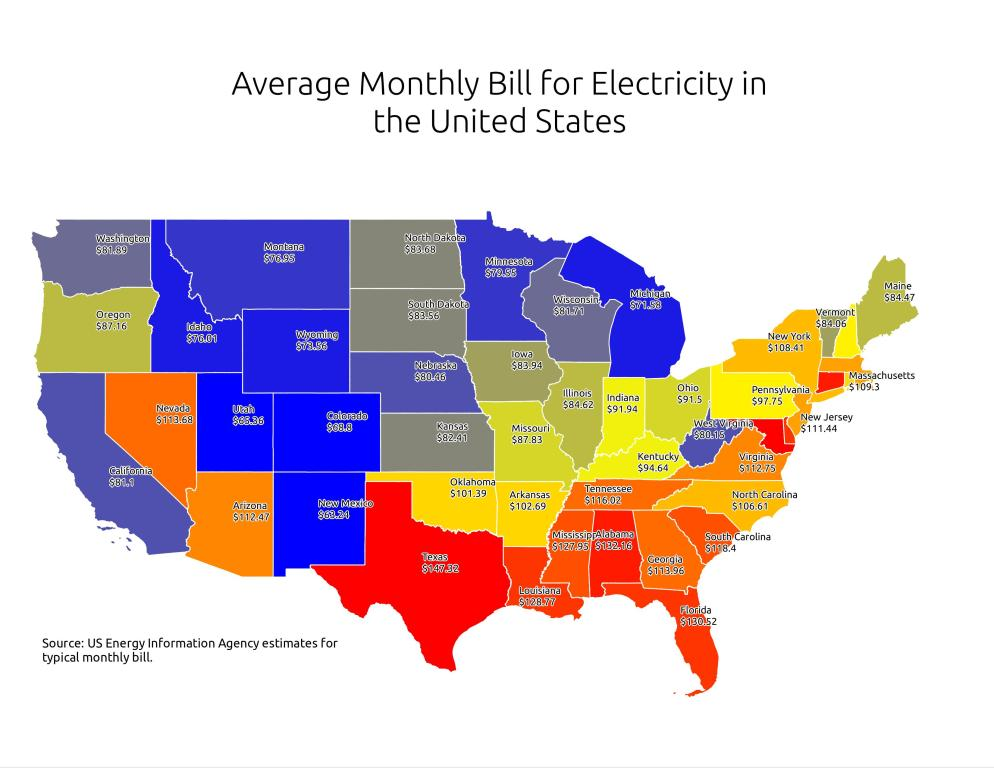Map: Average Monthly Bill for Electricity in United States
