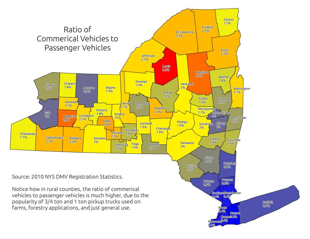 Map: Ratio of Commercial Vehicles to Passengers Vehicles