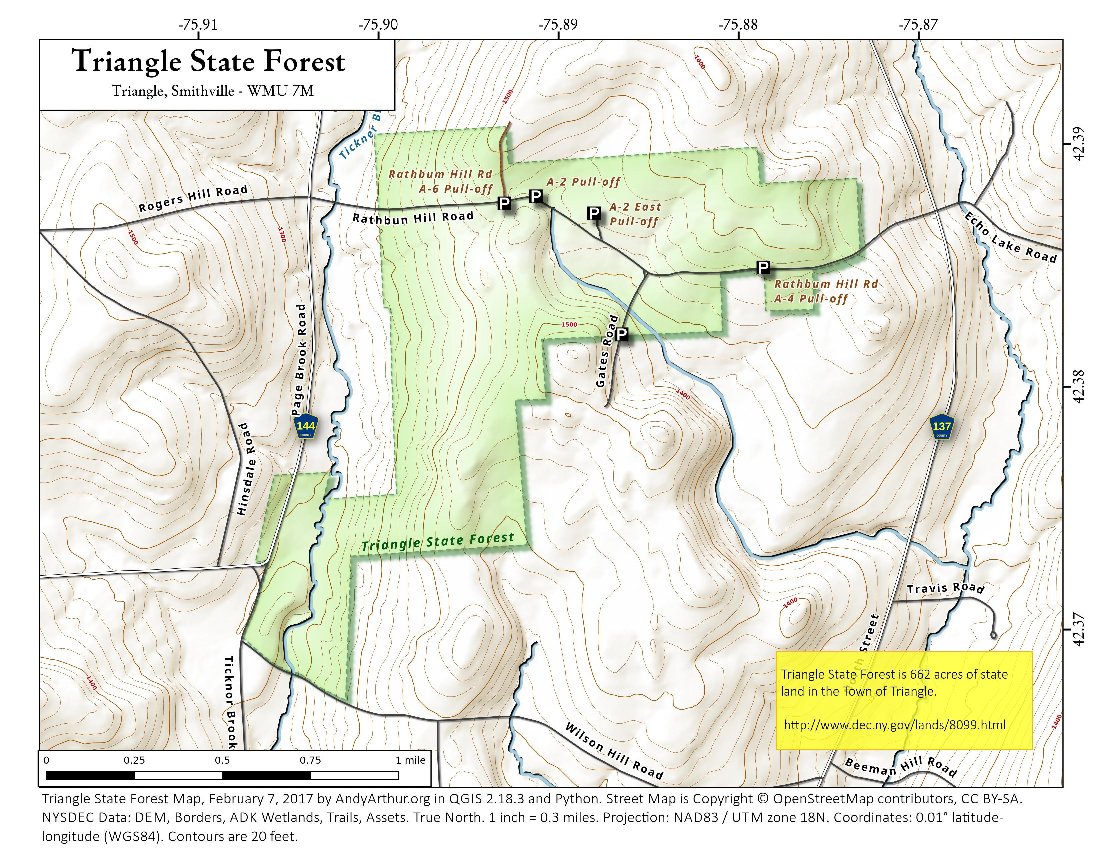 Map: Triangle State Forest