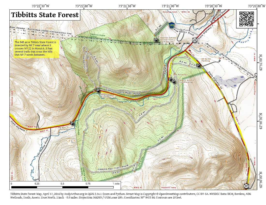 Map: Tibbitts State Forest