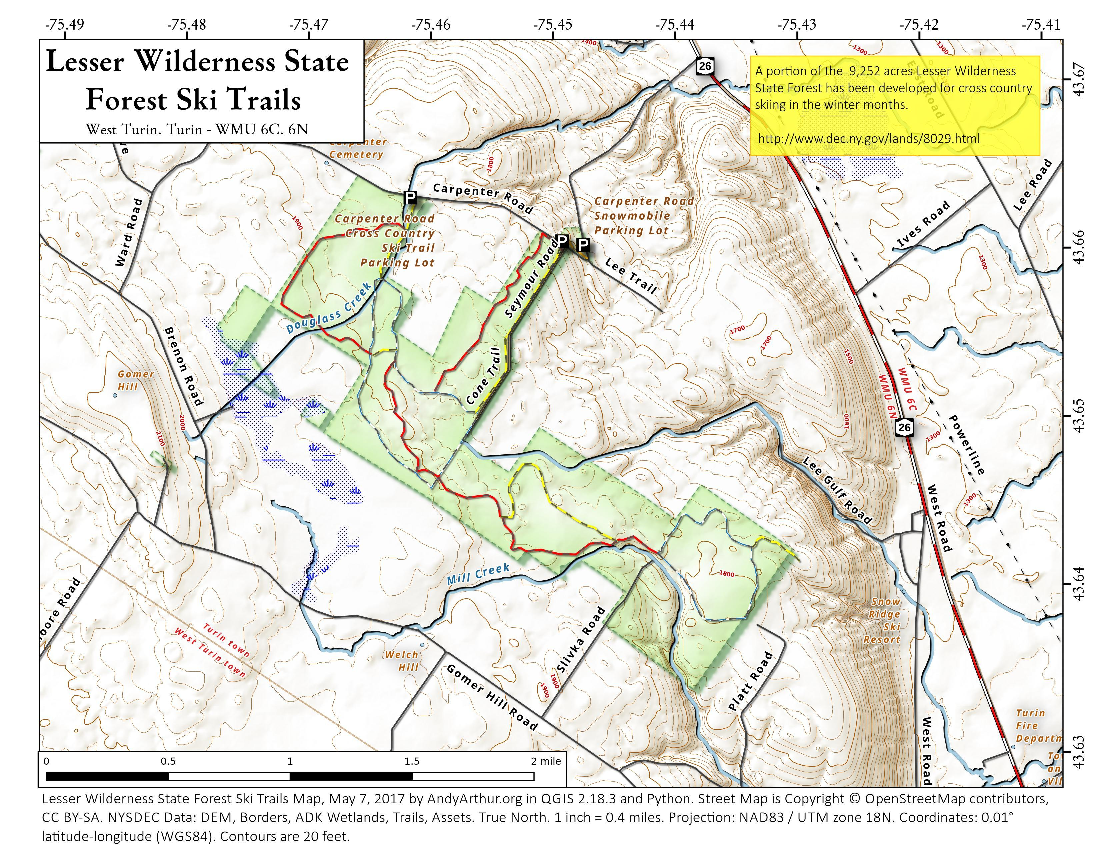 Map: Lesser Wilderness State Forest Ski Trails