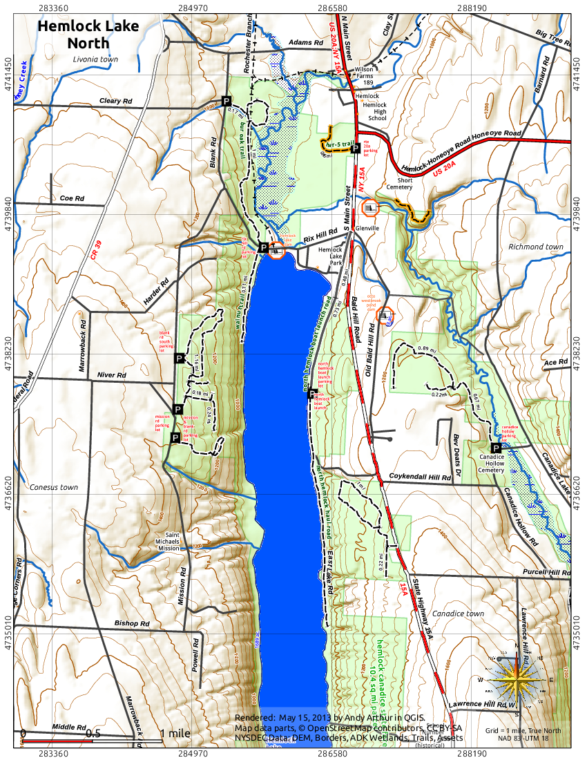 Map: Hemlock Lake North