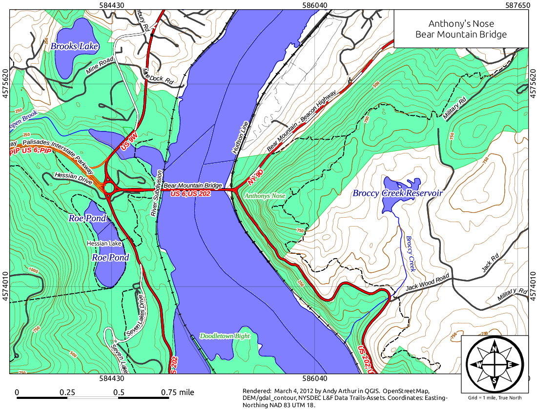 Map: Anthony's Nose and Bear Mountain Bridge