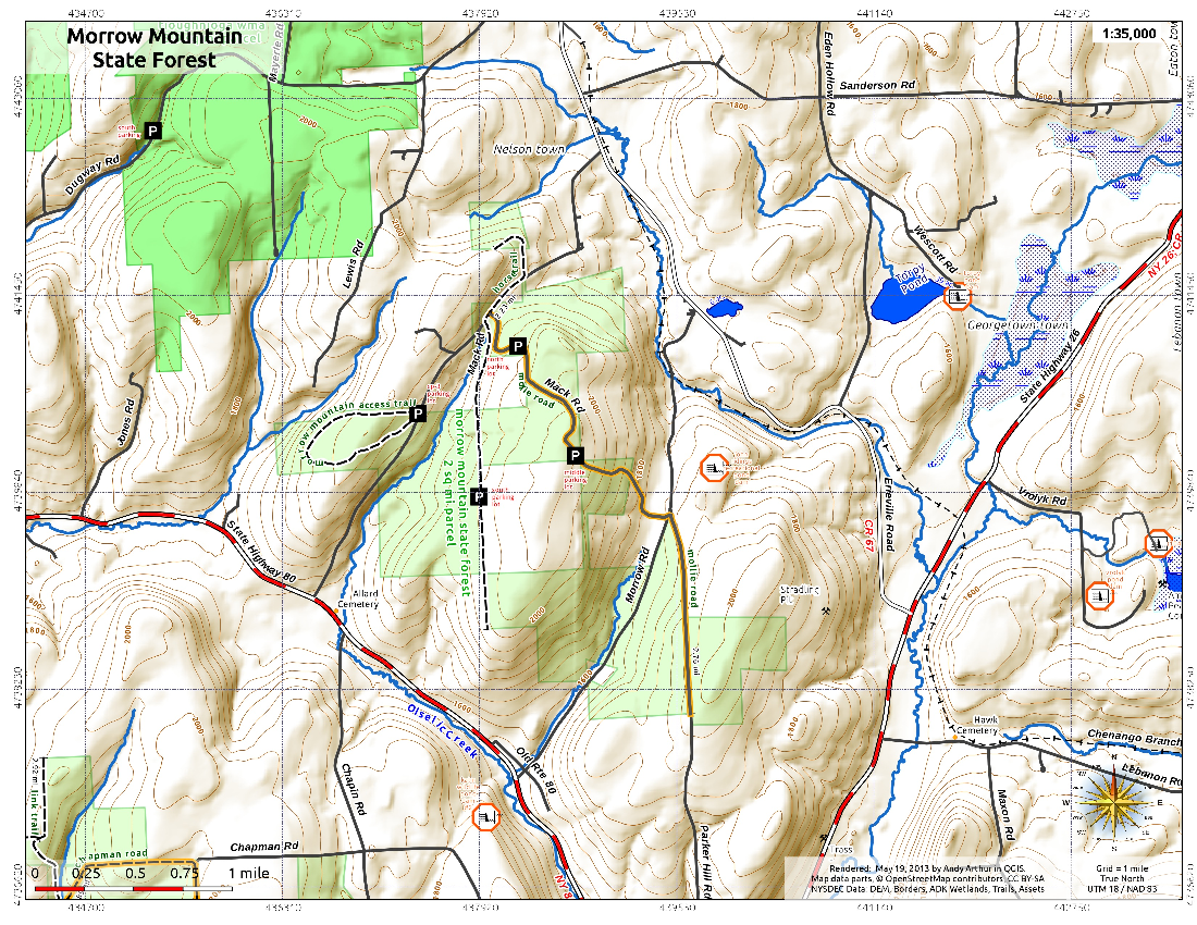 Map: Morrow Mountain State Forest