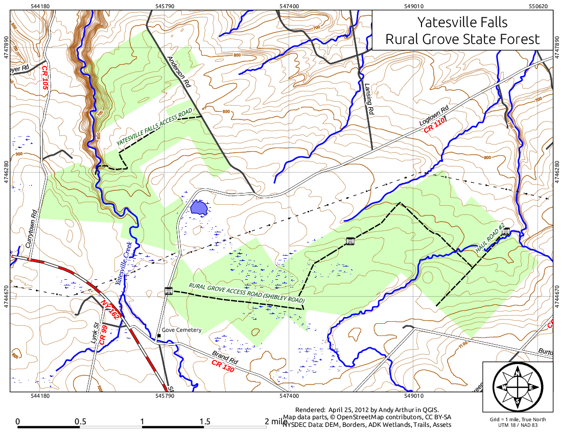 Map: Yatesville Falls / Rural Grove State Forest