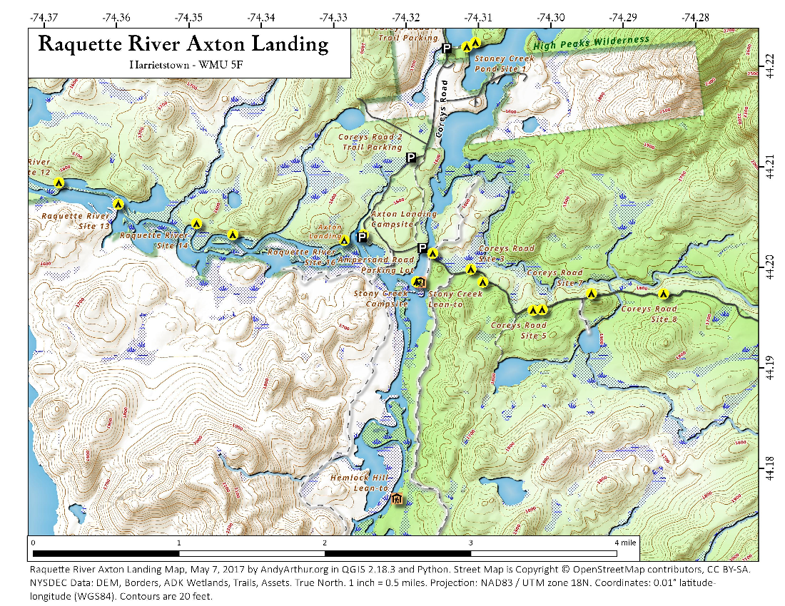 Map: Raquette River Axton Landing