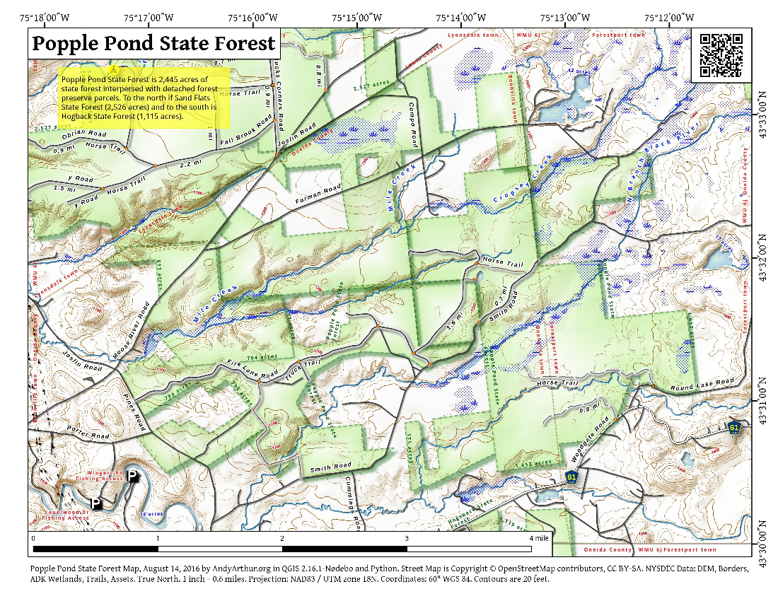 Map: Popple Pond State Forest