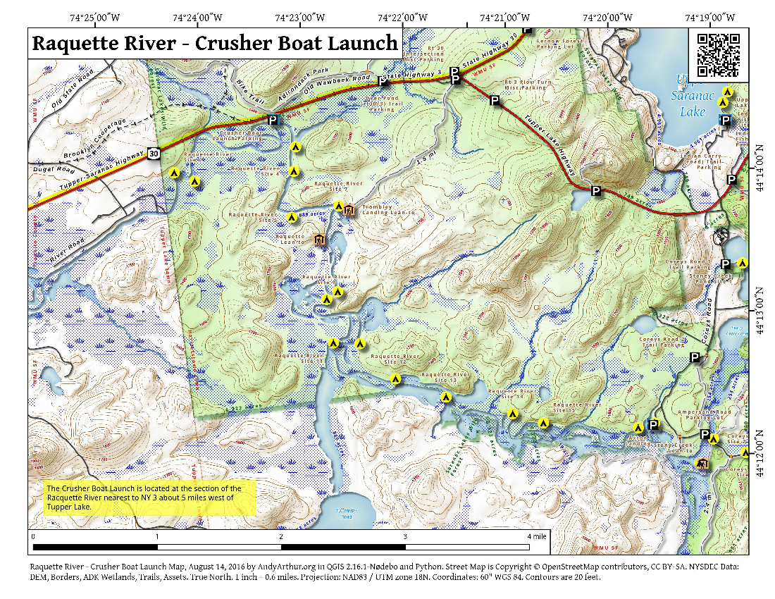 Map: Raquette River – Crusher Boat Launch