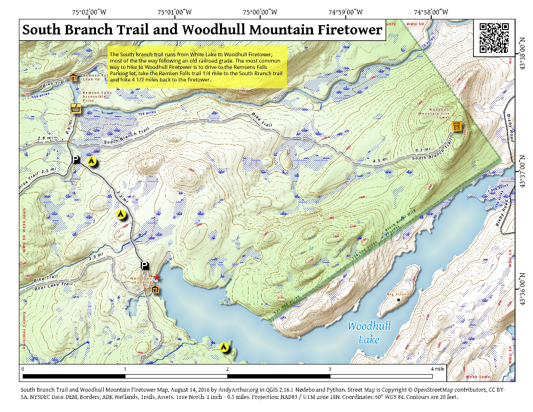 Map: South Branch Trail And Woodhull Mountain Firetower