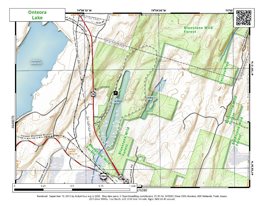 Map: Oneteora Lake